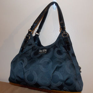 Coach Black Dotted Madison Maggie Large Hobo Bag